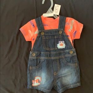 Baby boy, overall shorts with undershirt